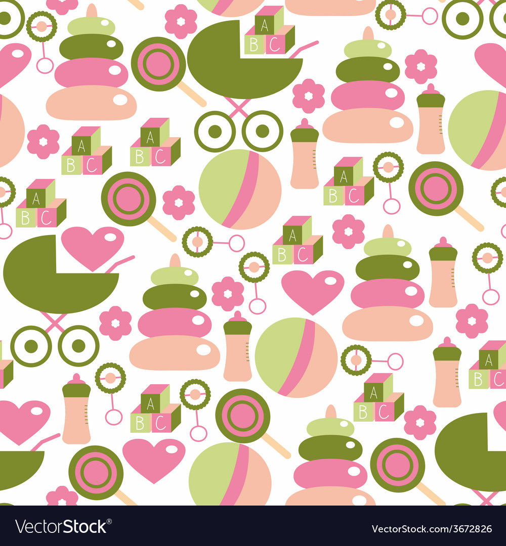 Seamless pattern for baby girl kids staff in pink vector | Price: 1 Credit (USD $1)