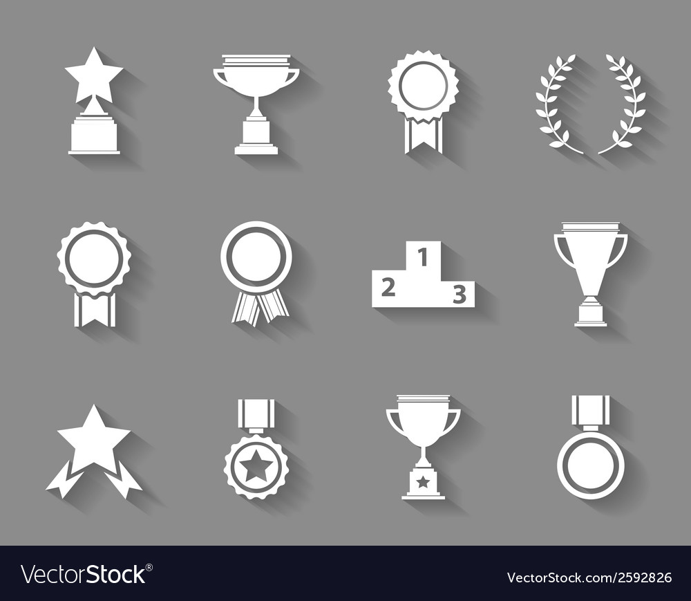 Set of award success and victory icons vector | Price: 1 Credit (USD $1)