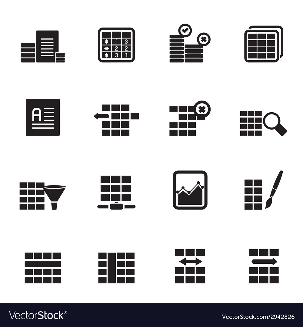 Silhouette database and table formatting icons vector | Price: 1 Credit (USD $1)