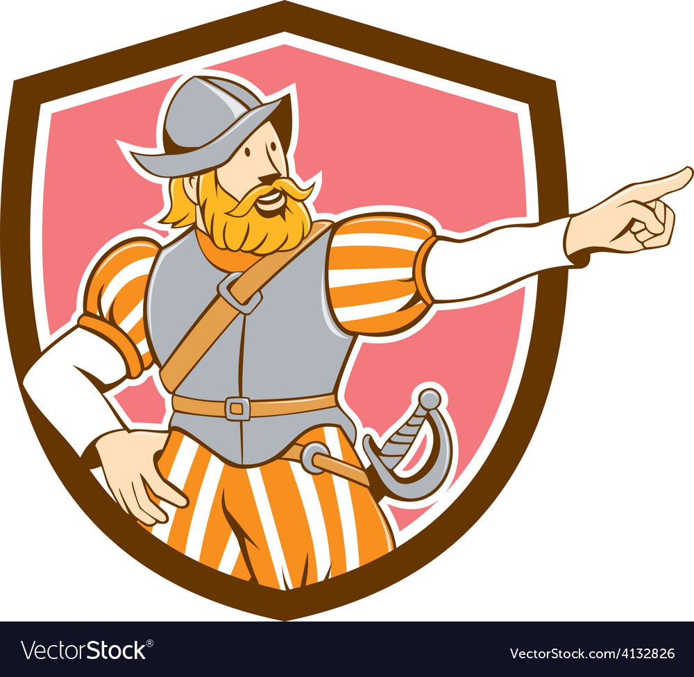 Spanish conquistador pointing cartoon shield vector | Price: 1 Credit (USD $1)