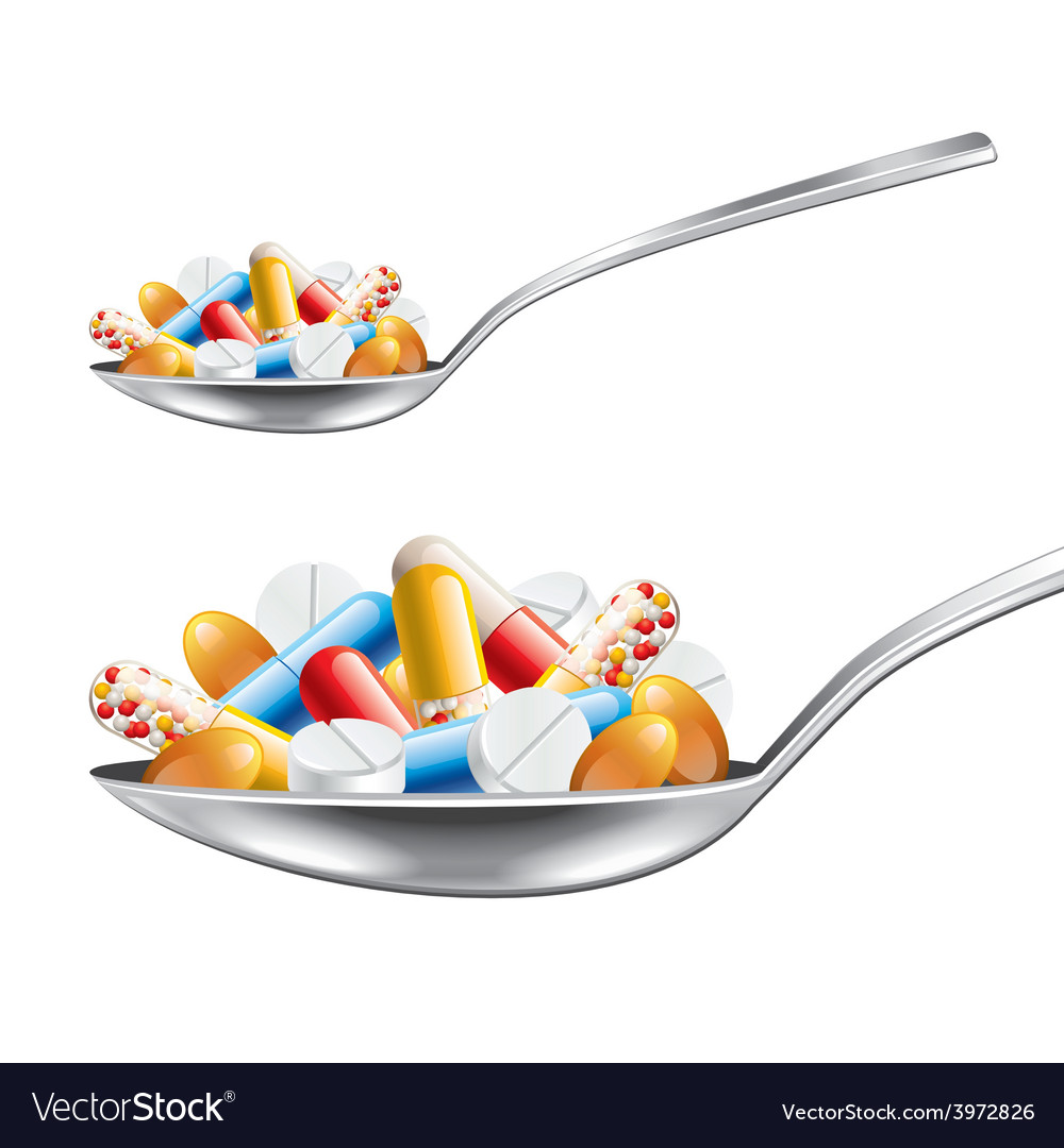 Spoon with medicines isolated vector | Price: 3 Credit (USD $3)