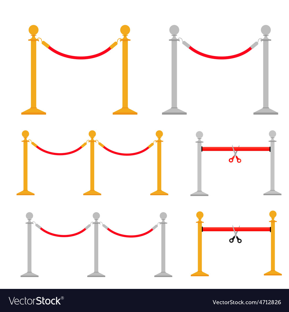 Stand rope barriers set i vector | Price: 1 Credit (USD $1)