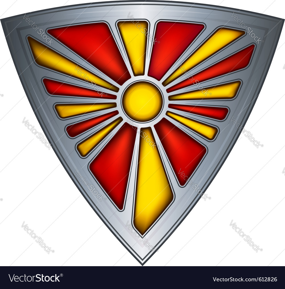 Steel shield with flag republic of macedonia vector | Price: 1 Credit (USD $1)
