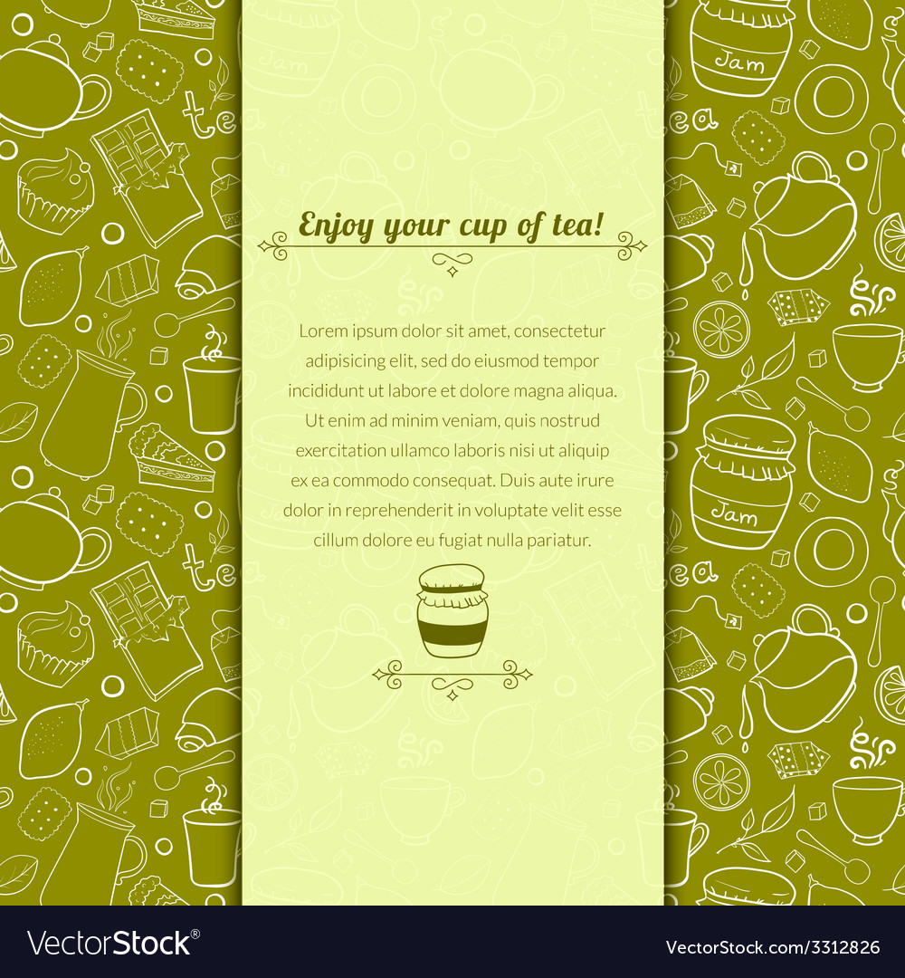 Tea and sweets for template card vector | Price: 1 Credit (USD $1)