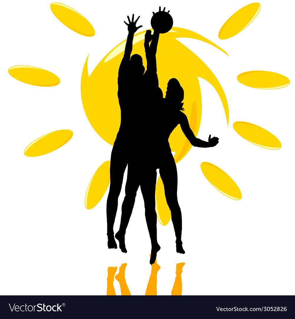 Volleyball play two girl silhouette on the sun vector | Price: 1 Credit (USD $1)