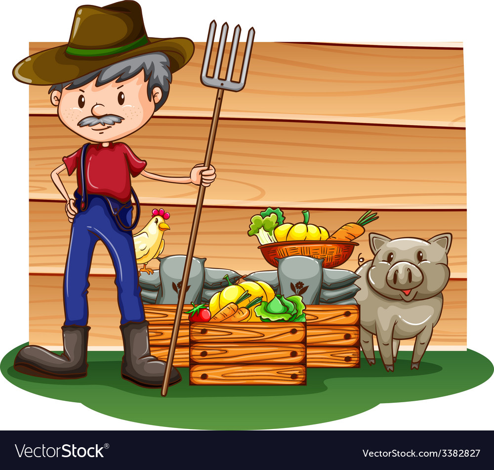 A farmer in front of the empty signboard vector | Price: 1 Credit (USD $1)