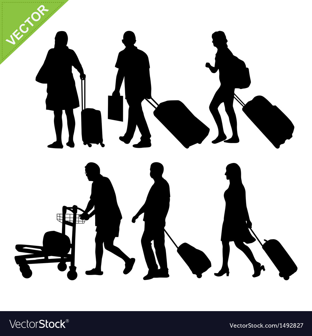 Airport passengers silhouette vector | Price: 1 Credit (USD $1)