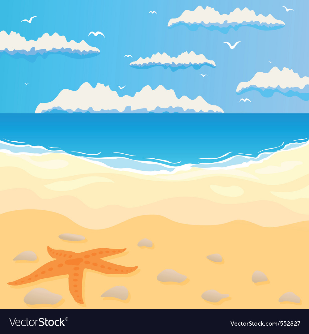And the sea in summer day a vector illustrat vector | Price: 1 Credit (USD $1)