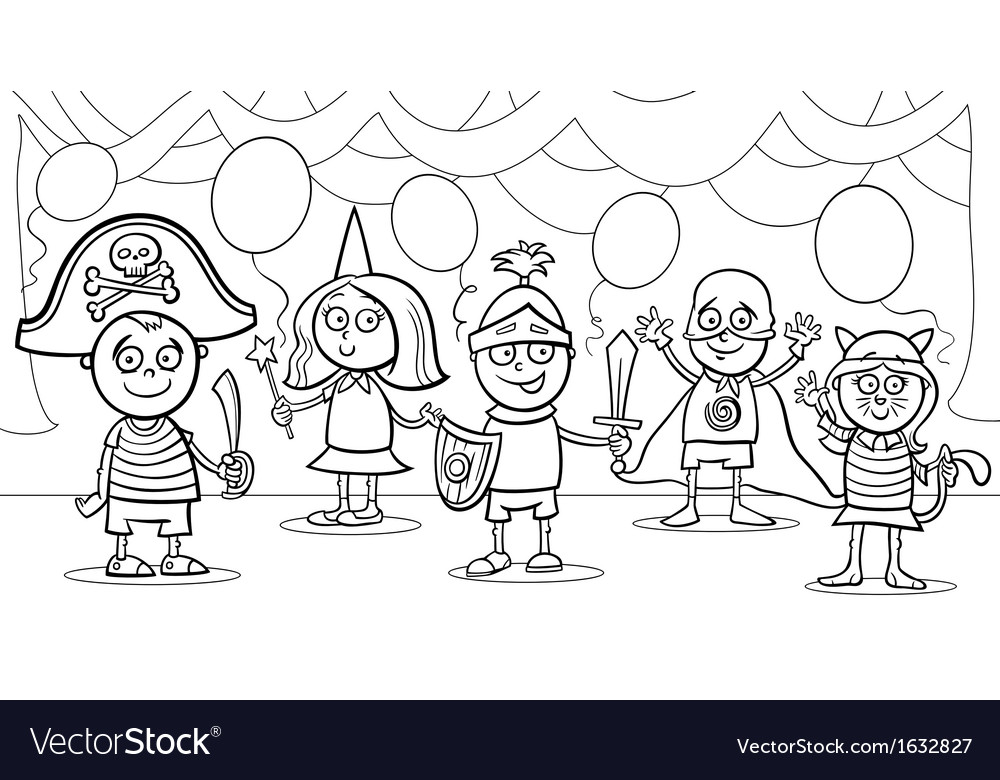 Children at fancy ball coloring page vector | Price: 1 Credit (USD $1)