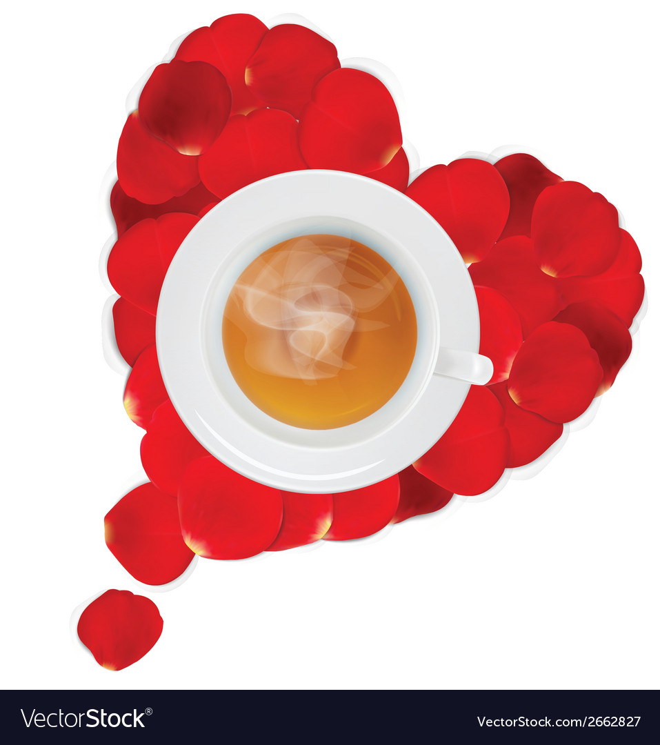 Cup of hot tea in the heart of rose petals vector | Price: 1 Credit (USD $1)