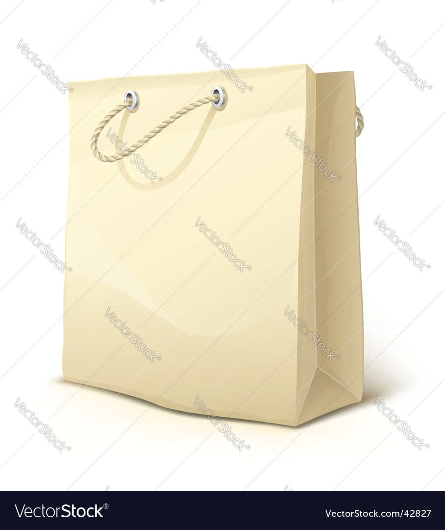 Empty paper shopping bag vector