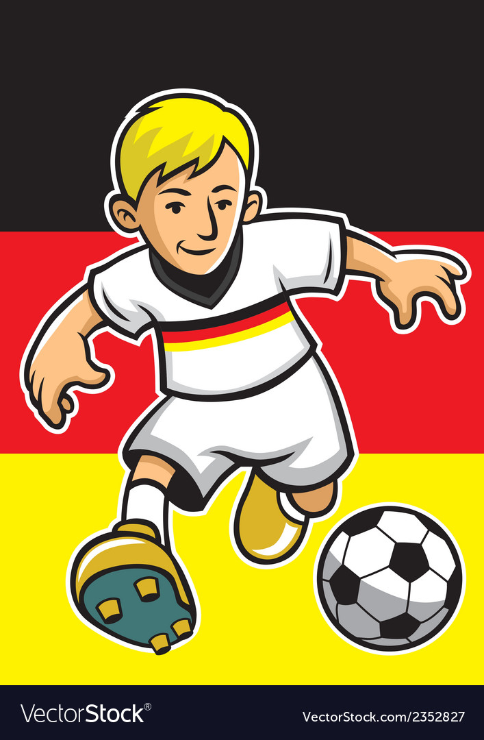 Germany soccer player with flag background vector | Price: 1 Credit (USD $1)