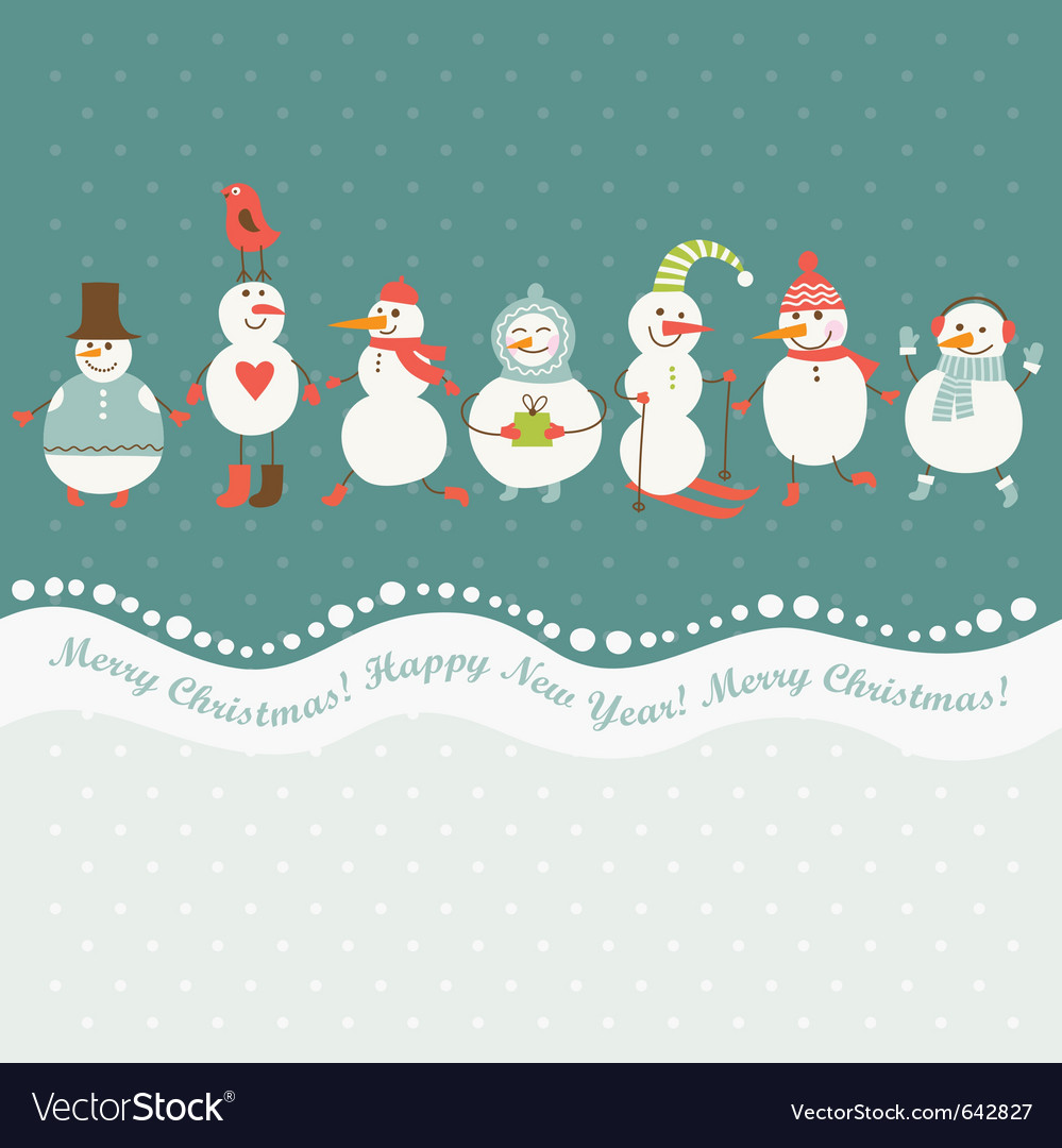 Horizontal of cute snowmen vector | Price: 1 Credit (USD $1)