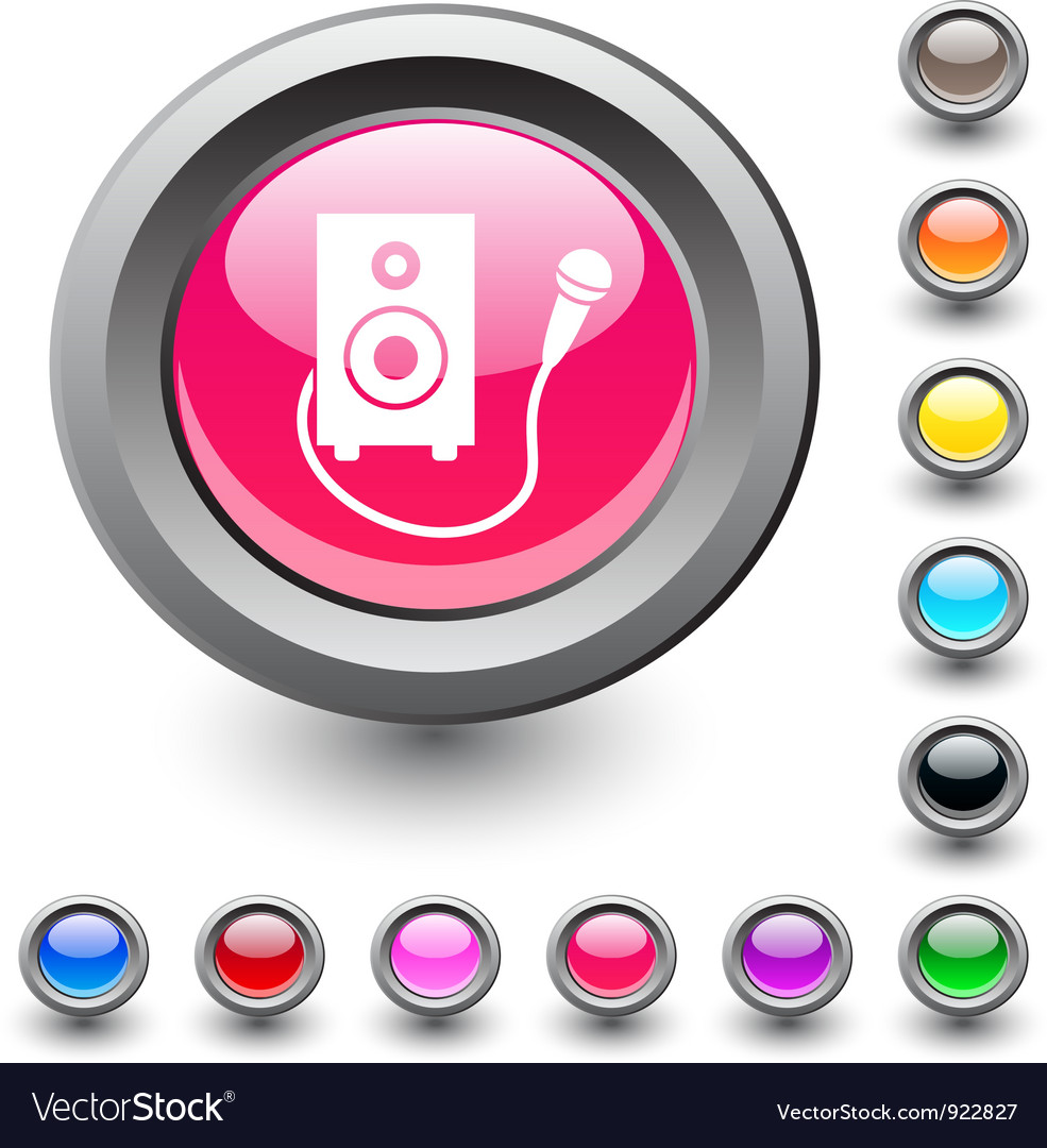 Karaoke round button vector | Price: 1 Credit (USD $1)