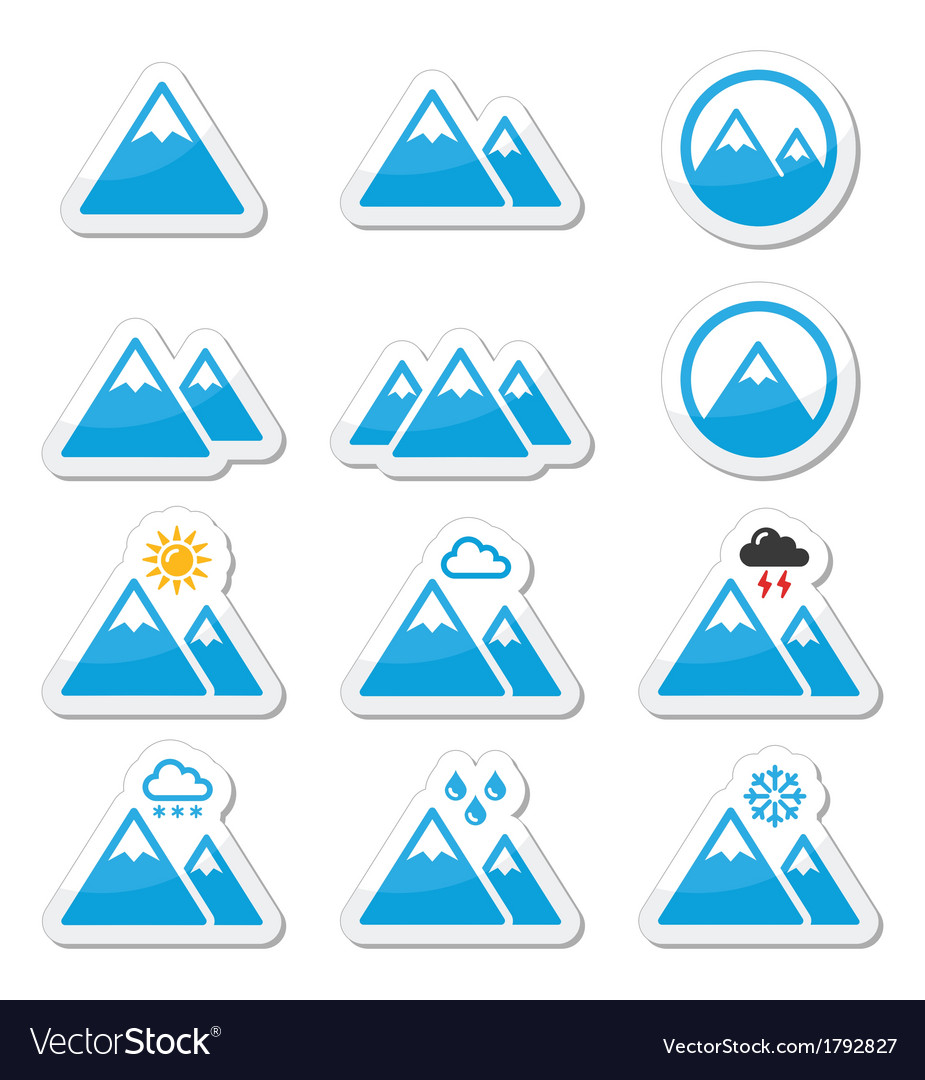 Mountain icons set vector | Price: 1 Credit (USD $1)