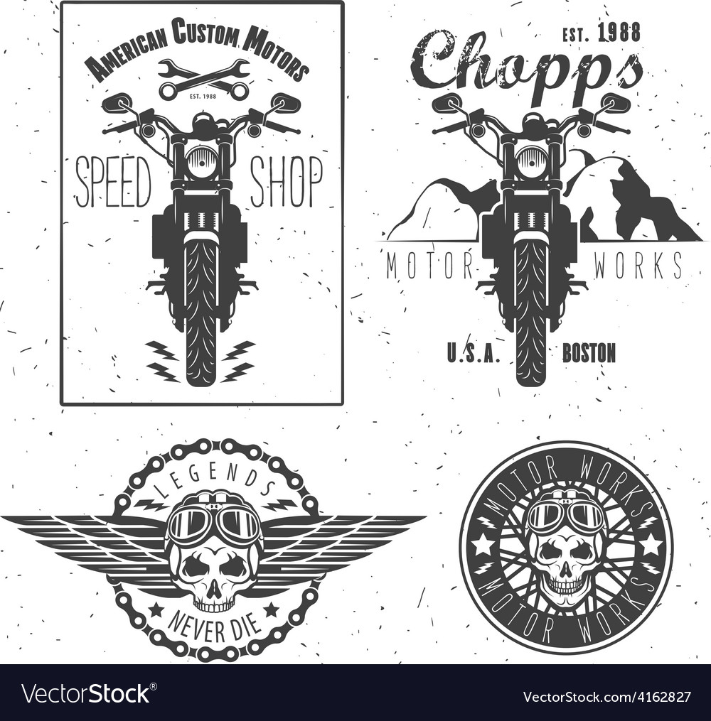 Set of vintage motorcycle labels vector | Price: 1 Credit (USD $1)