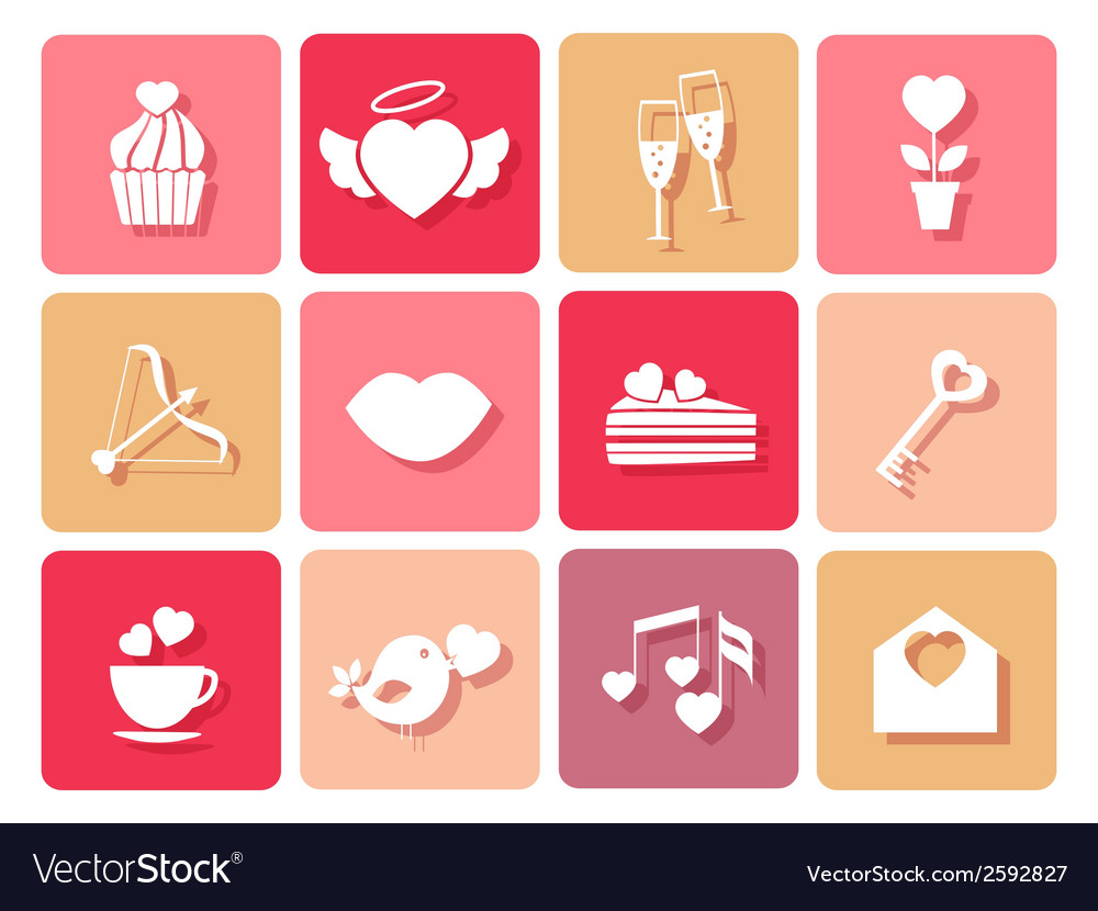 Set of wedding and valentines icons for cards vector | Price: 1 Credit (USD $1)