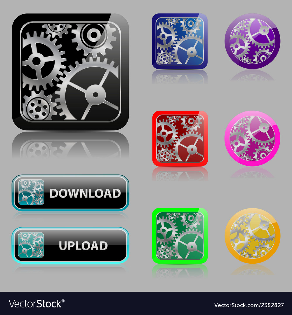 Set web buttons with gears vector | Price: 1 Credit (USD $1)