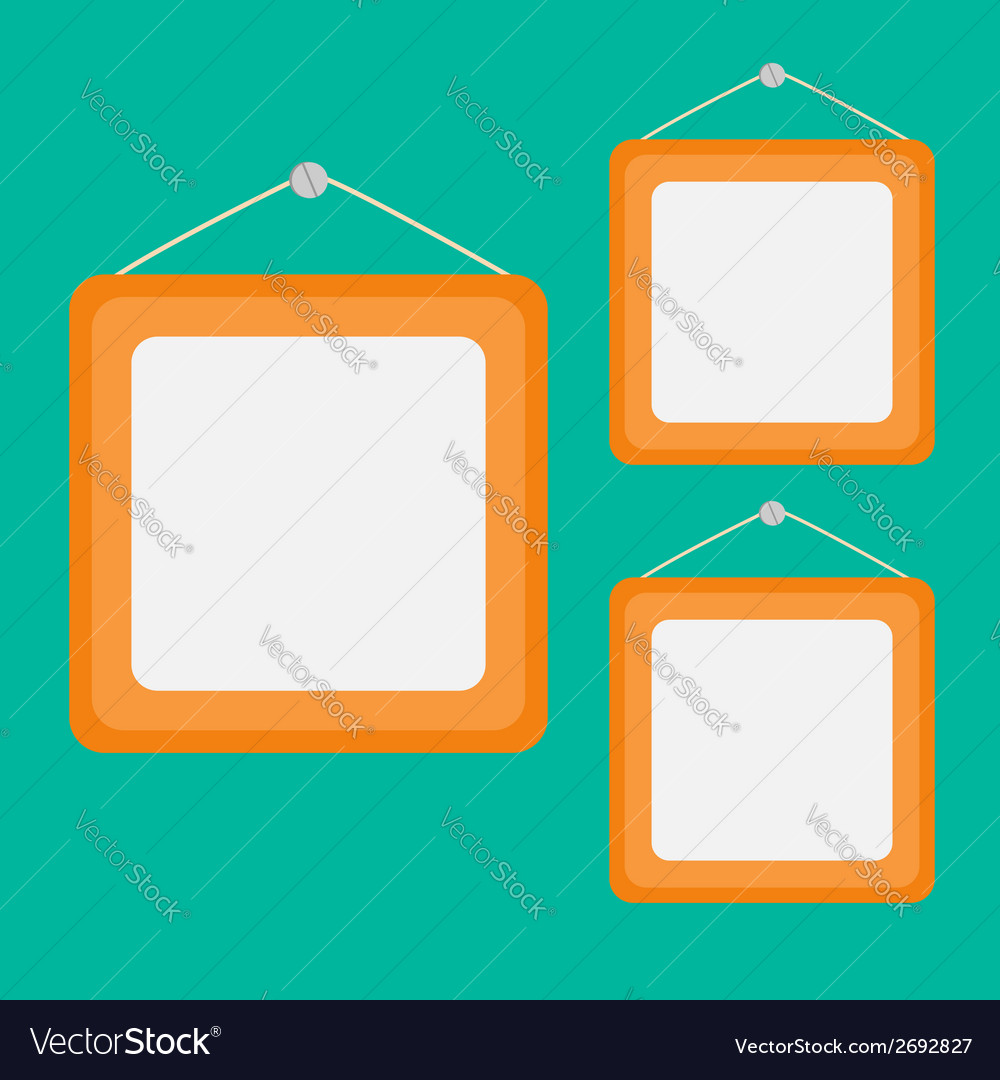Three picture frame set with rope and nail flat vector | Price: 1 Credit (USD $1)