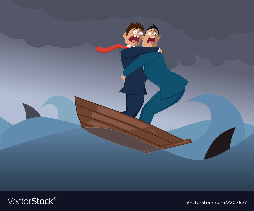 Two businessmen in one boat vector | Price: 1 Credit (USD $1)