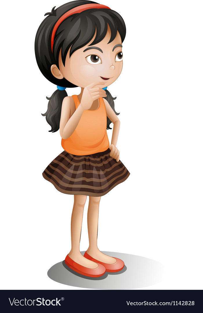 A young girl thinking vector | Price: 1 Credit (USD $1)