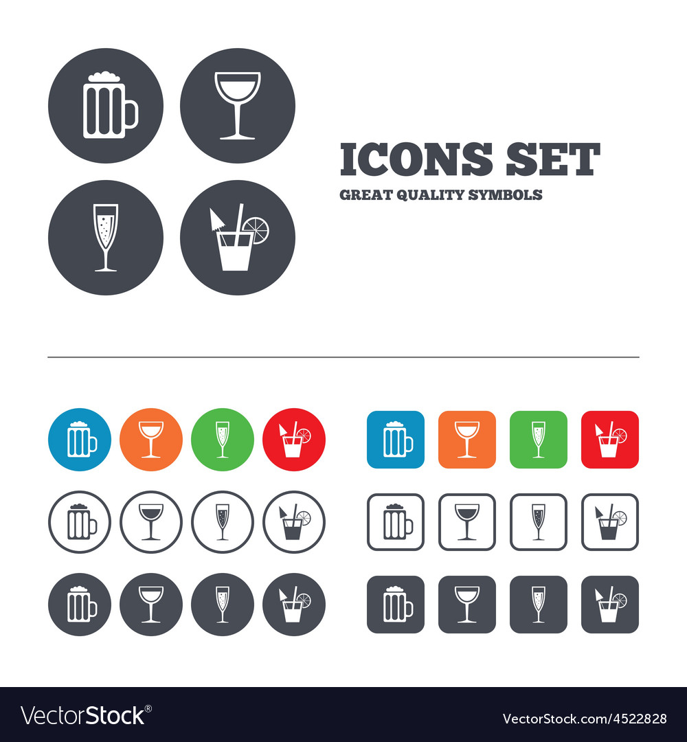 Alcoholic drinks signs champagne beer icons vector | Price: 1 Credit (USD $1)