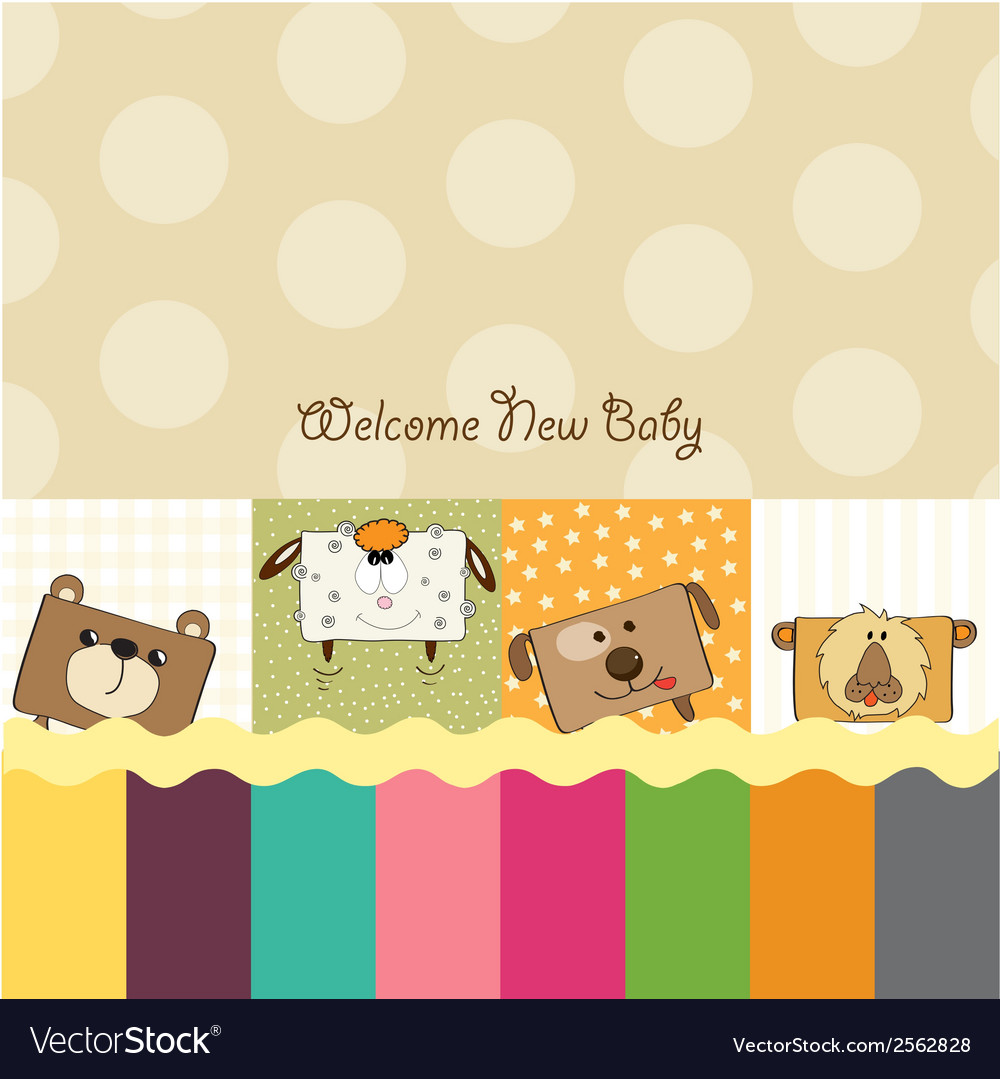 Baby shower card with funny cube animals vector | Price: 1 Credit (USD $1)