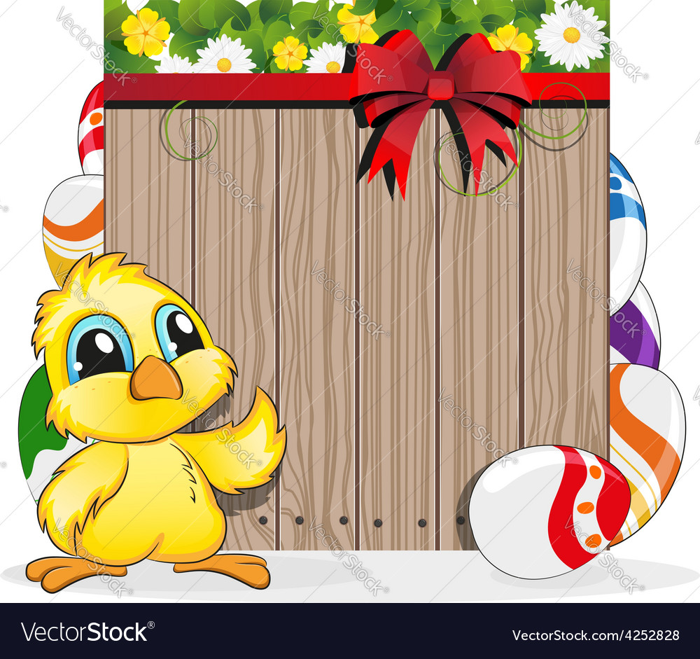 Chicken and painted eggs vector | Price: 3 Credit (USD $3)