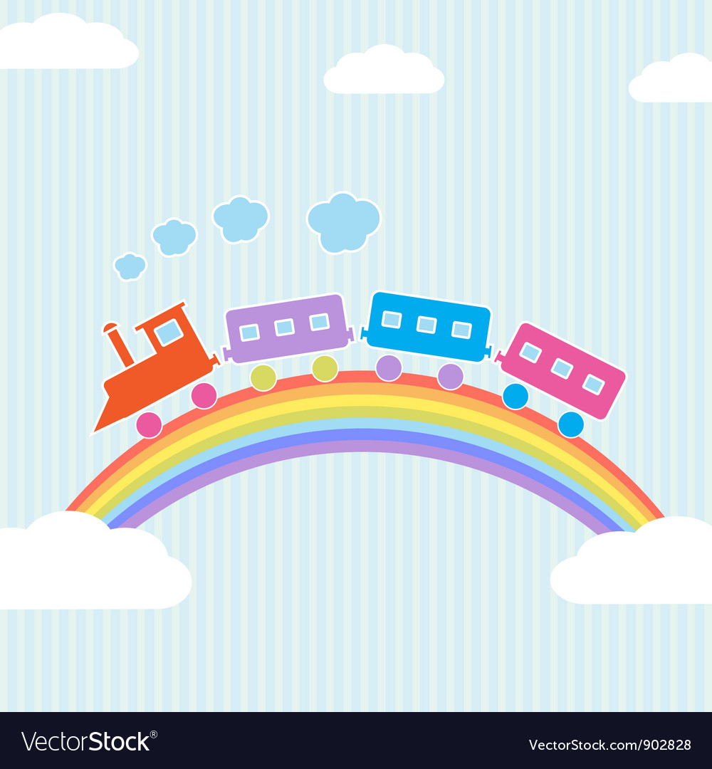 Colorful train on rainbow vector | Price: 1 Credit (USD $1)