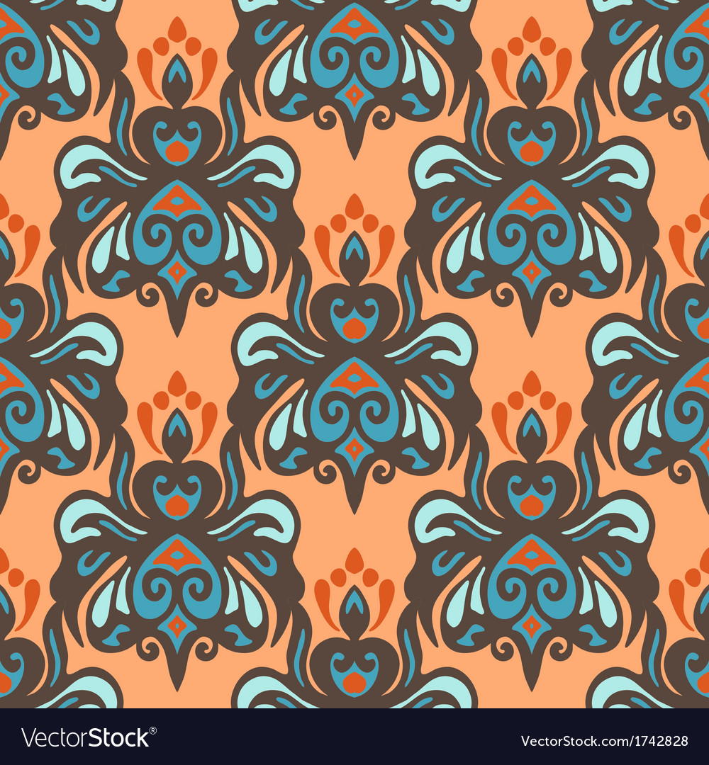 Ethnic damask seamless pattern vector | Price: 1 Credit (USD $1)