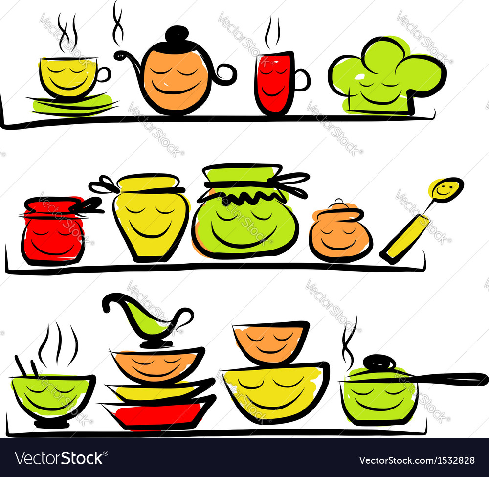 Kitchen utensils characters on shelves sketch vector | Price: 1 Credit (USD $1)
