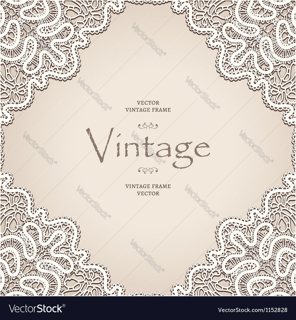 Old lace frame vector | Price: 1 Credit (USD $1)