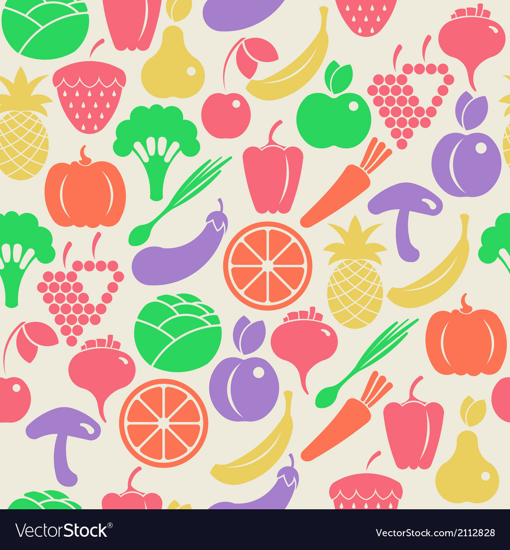 Seamless pattern with fruits and vegetabl vector | Price: 1 Credit (USD $1)