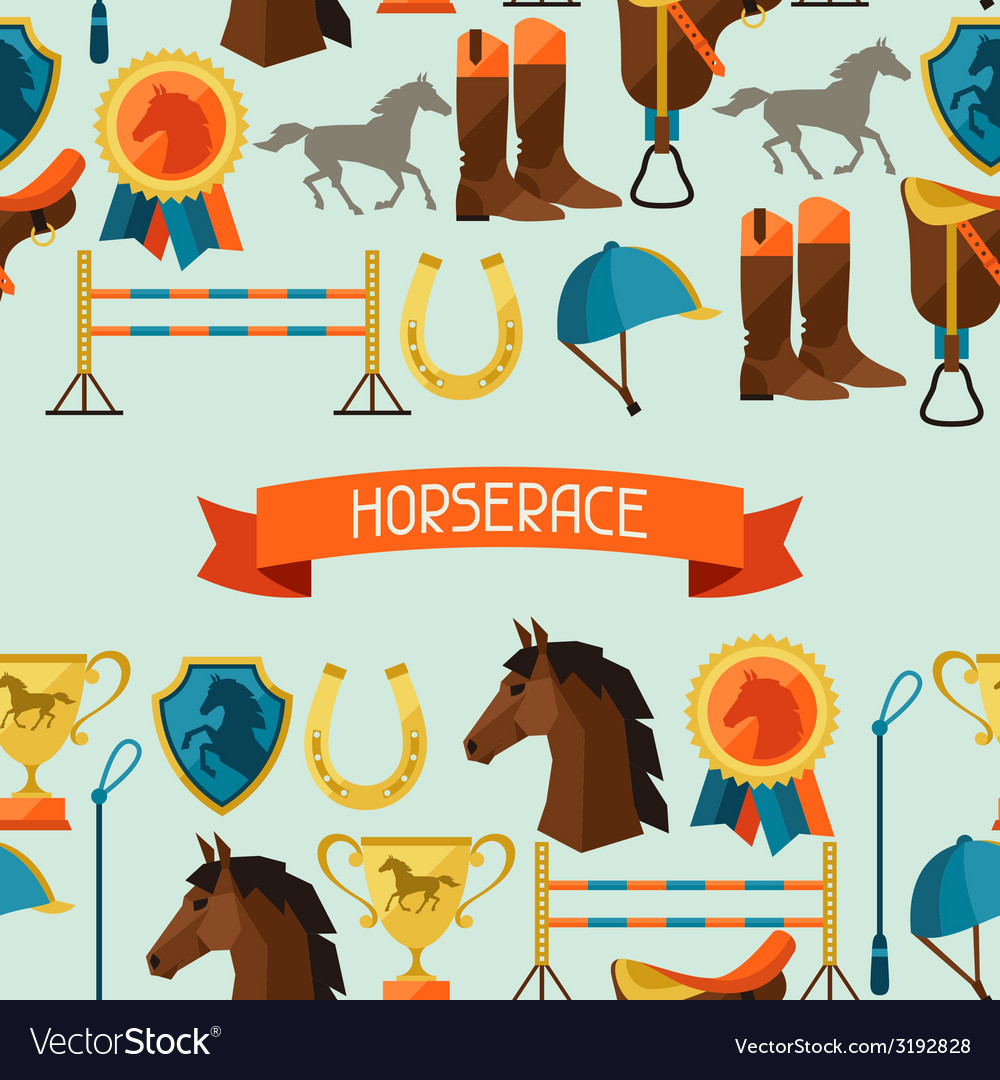 Seamless pattern with horse equipment in flat vector | Price: 1 Credit (USD $1)