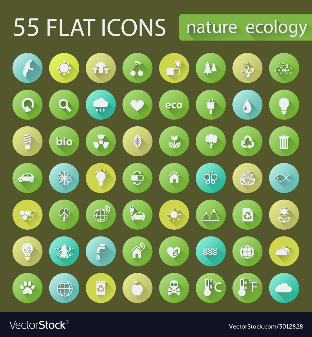 Set of ecology nature flat icons vector | Price: 1 Credit (USD $1)