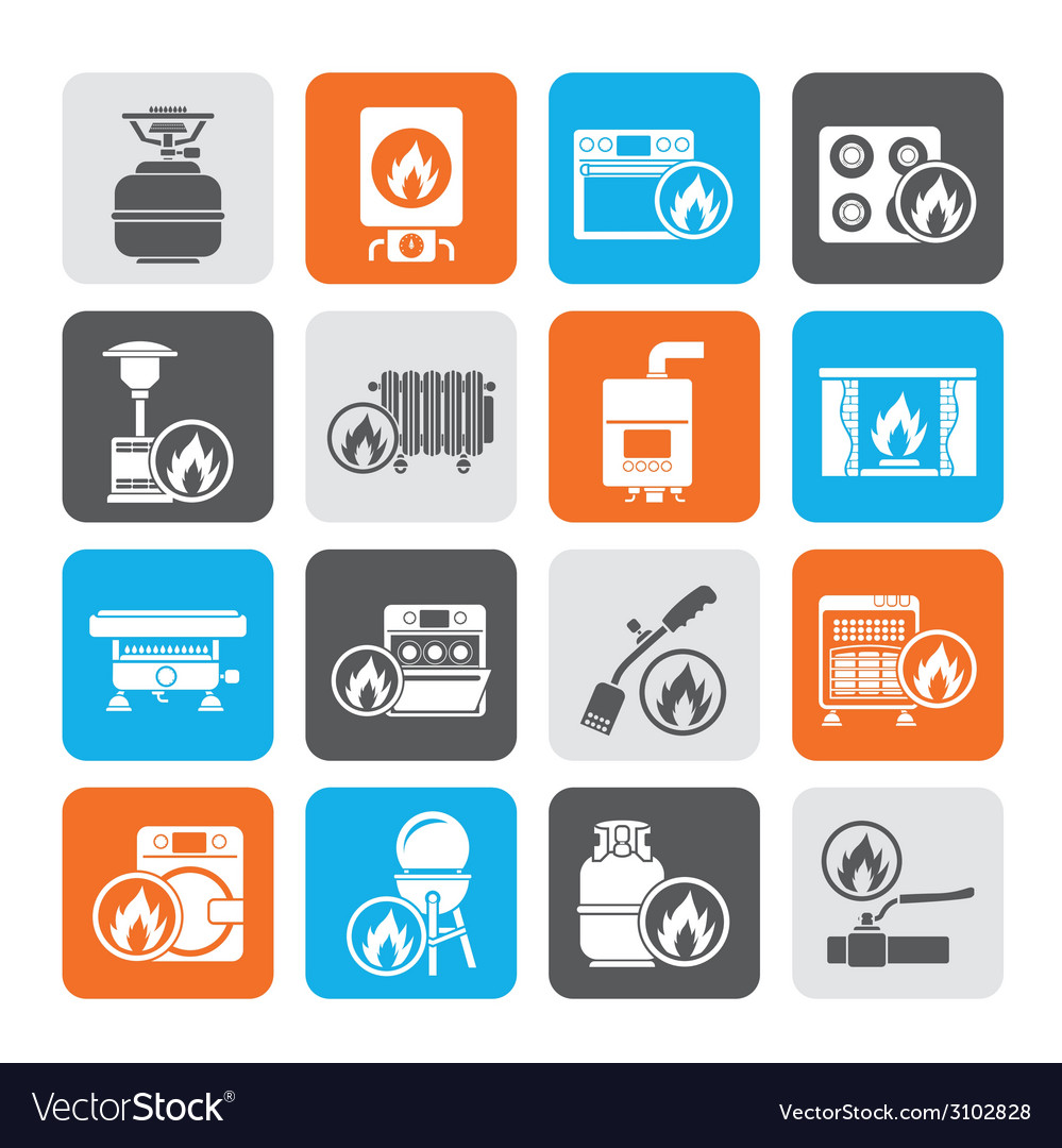 Silhouette household gas appliances icons vector | Price: 1 Credit (USD $1)