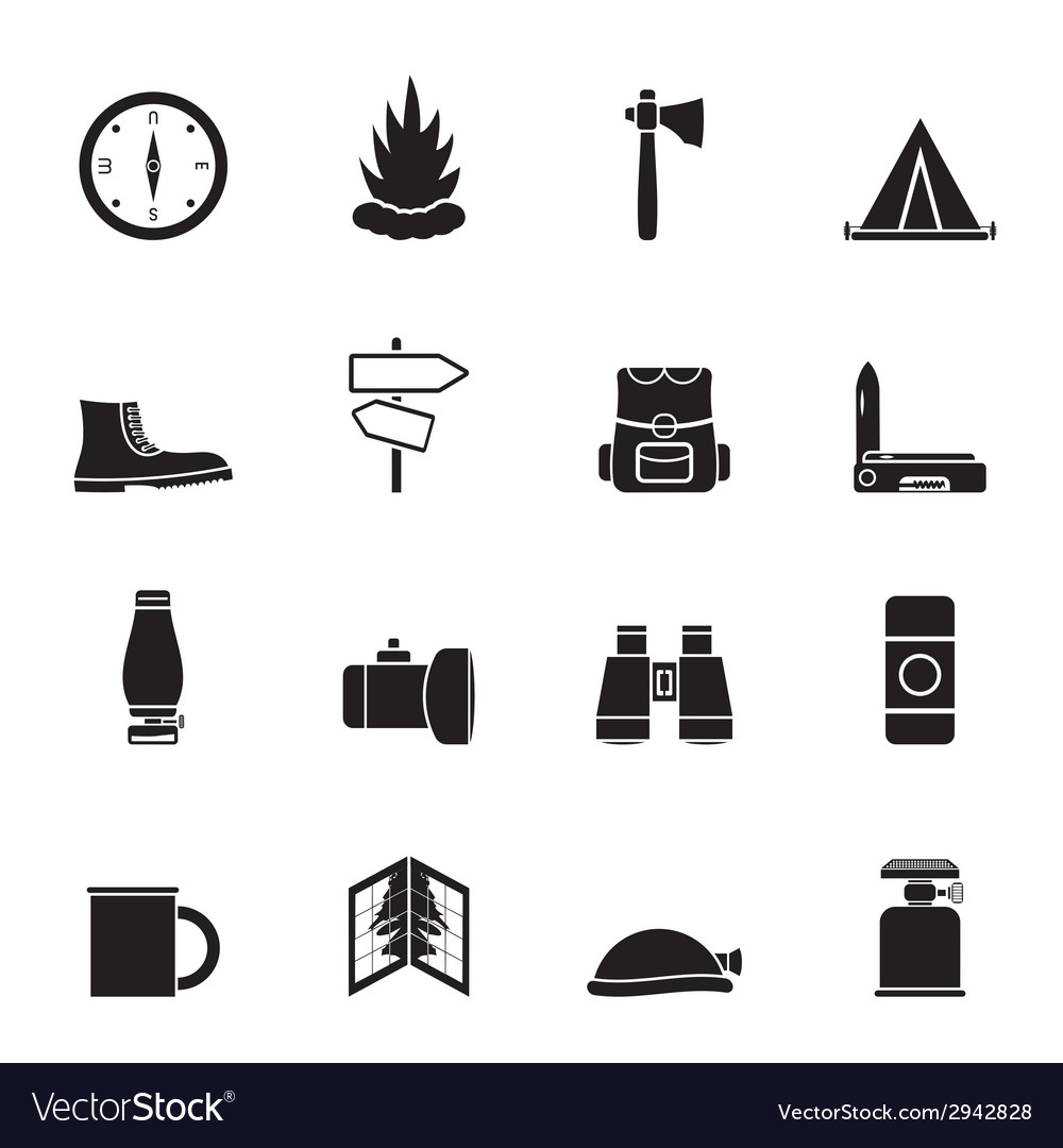 Silhouette tourism and holiday icons vector | Price: 1 Credit (USD $1)