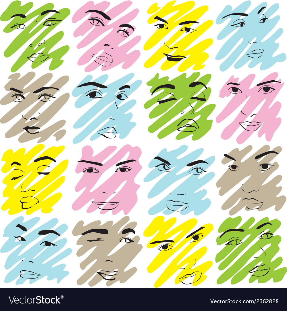 Texture faces of women vector | Price: 1 Credit (USD $1)