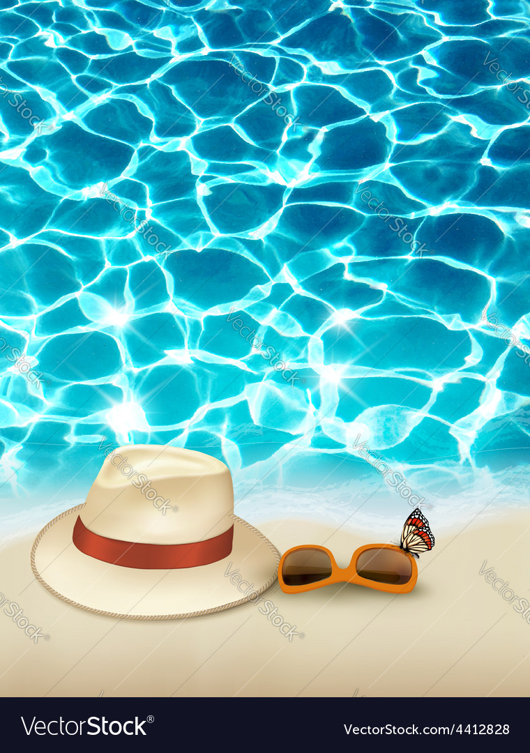 Vacation background with blue sea a hat and vector | Price: 3 Credit (USD $3)