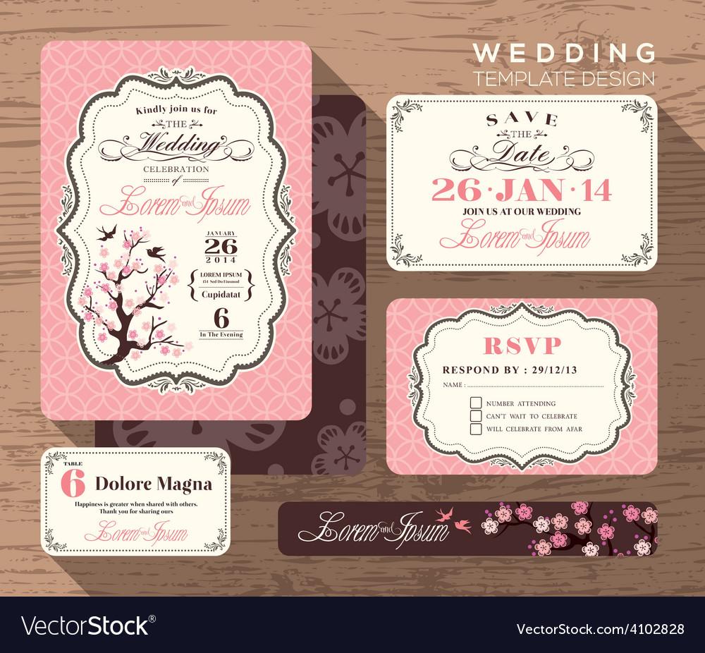 Vintage floral wedding invitation set template vector   Price: 1 Credit (USD $1)
