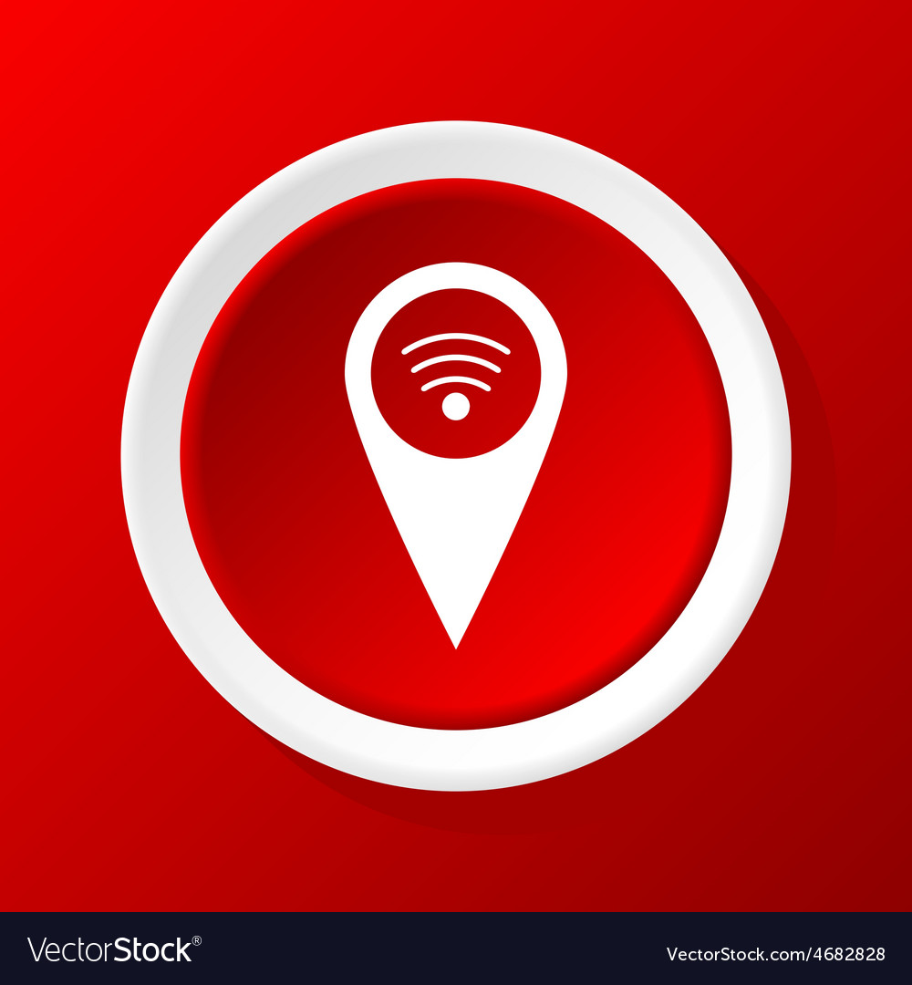 Wi-fi pointer icon on red vector | Price: 1 Credit (USD $1)