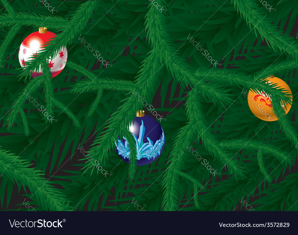 Card with fir and baubles vector | Price: 1 Credit (USD $1)