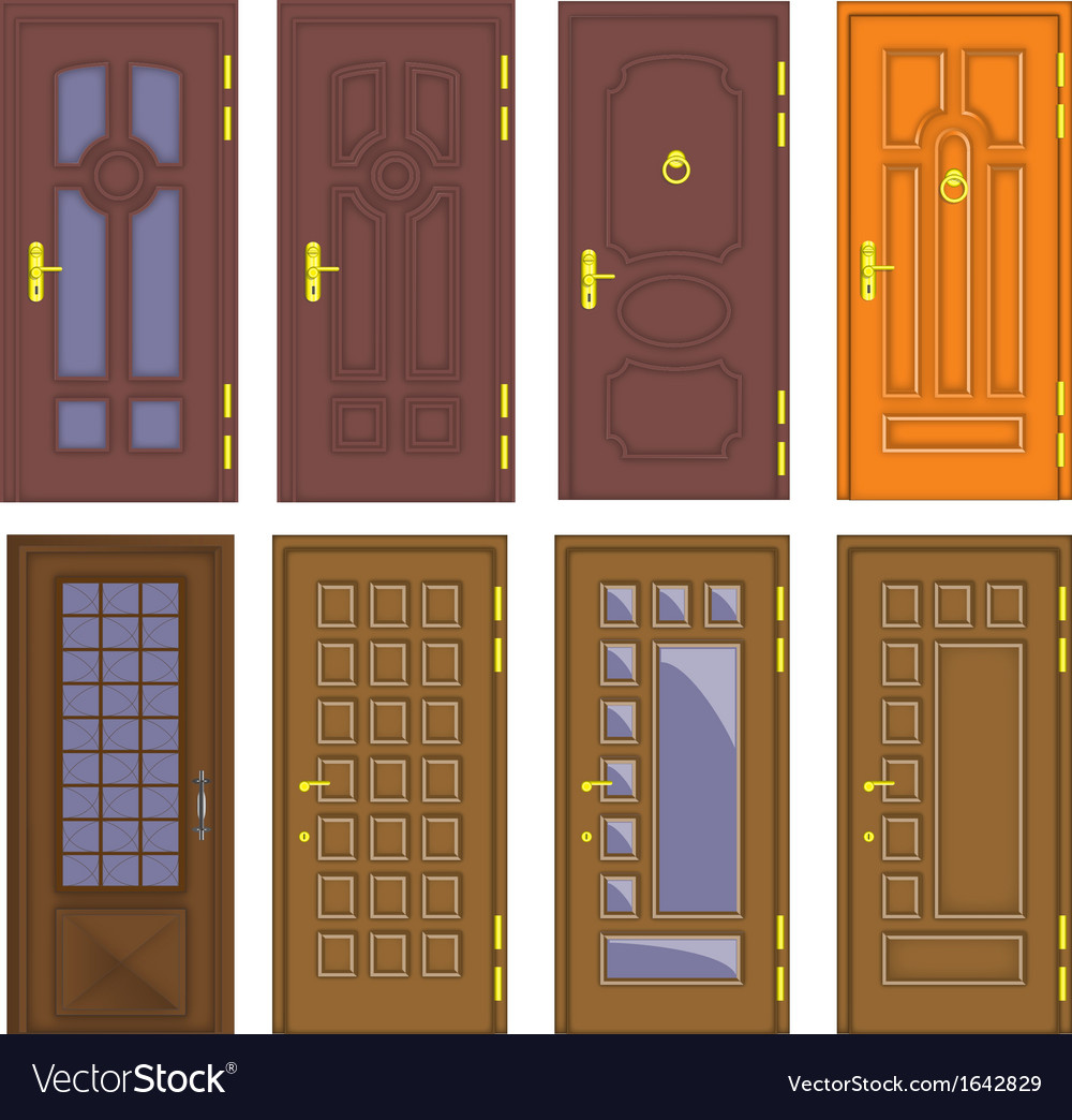 Classic interior and front wooden doors - vector | Price: 1 Credit (USD $1)