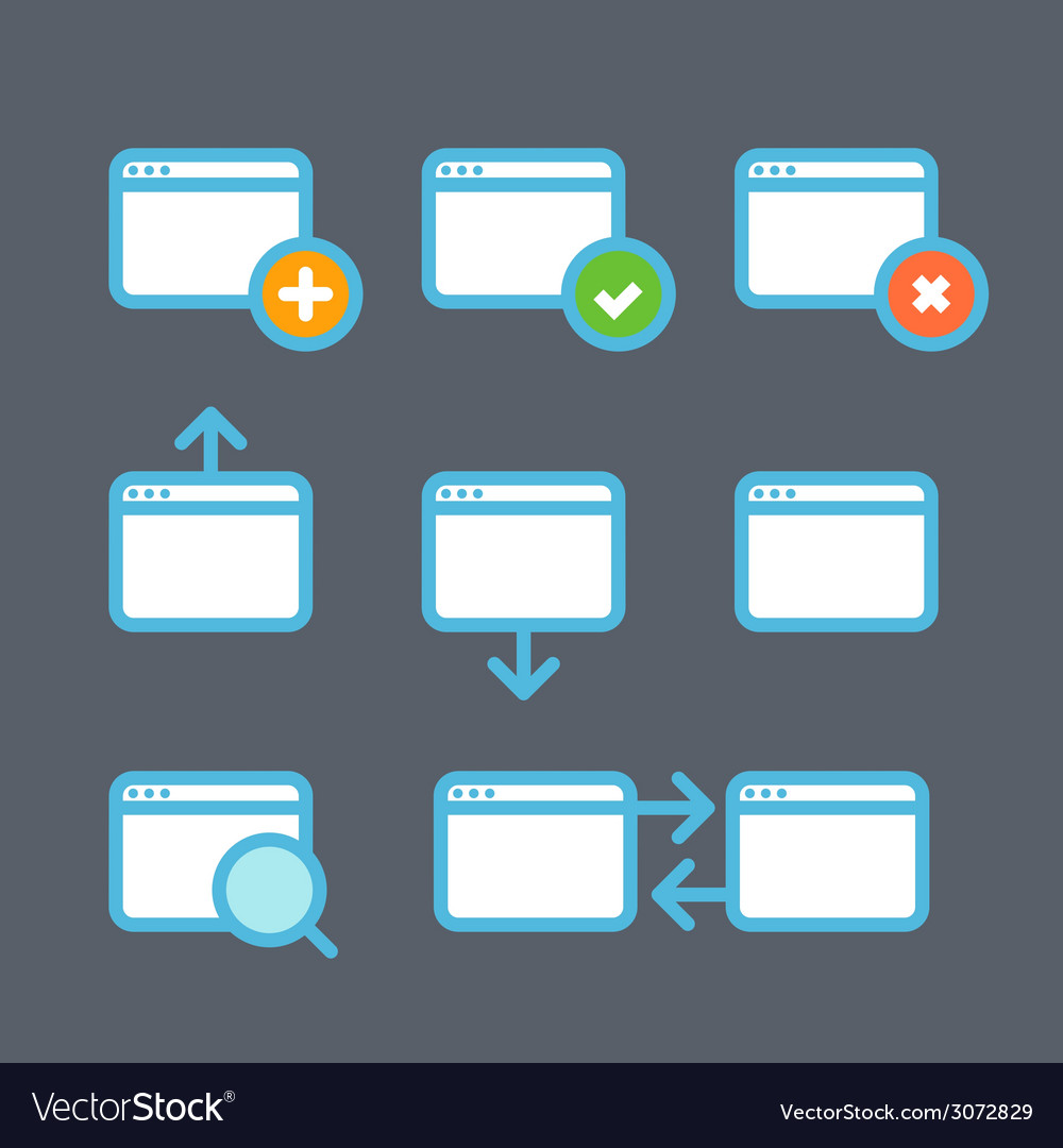 Different web browser icons set vector | Price: 1 Credit (USD $1)