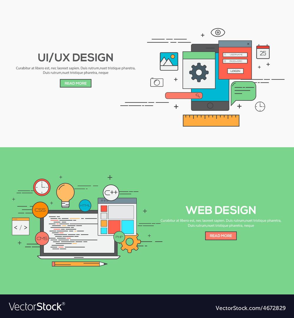 Flat design line concept vector
