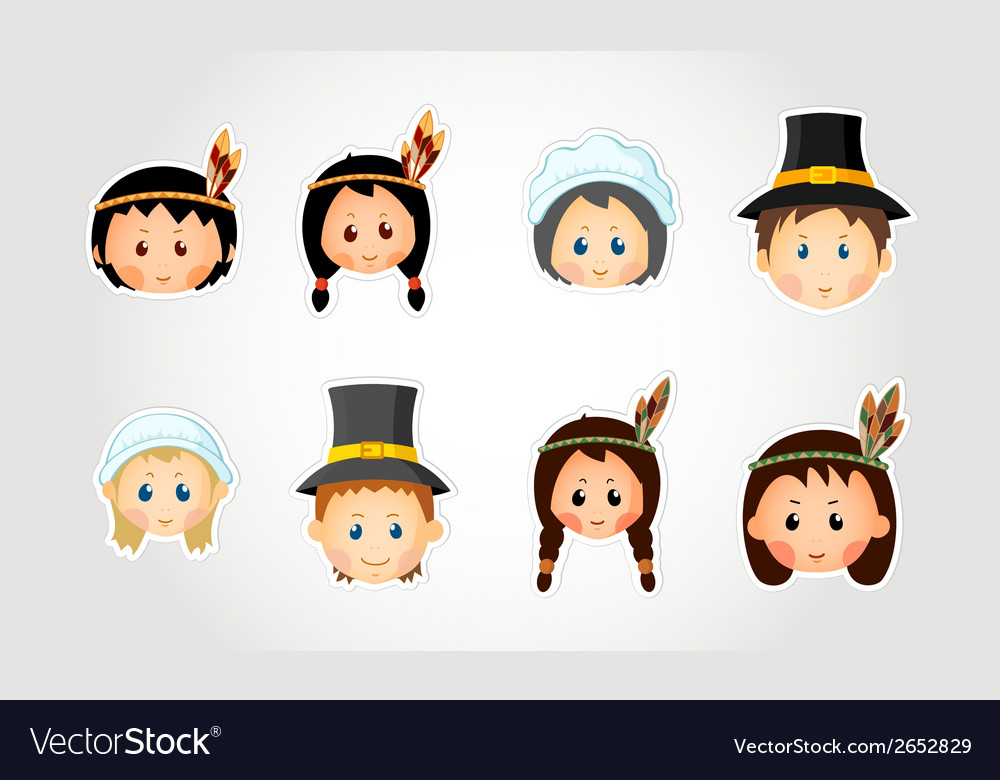 Funny kids - thanksgiving day vector | Price: 1 Credit (USD $1)
