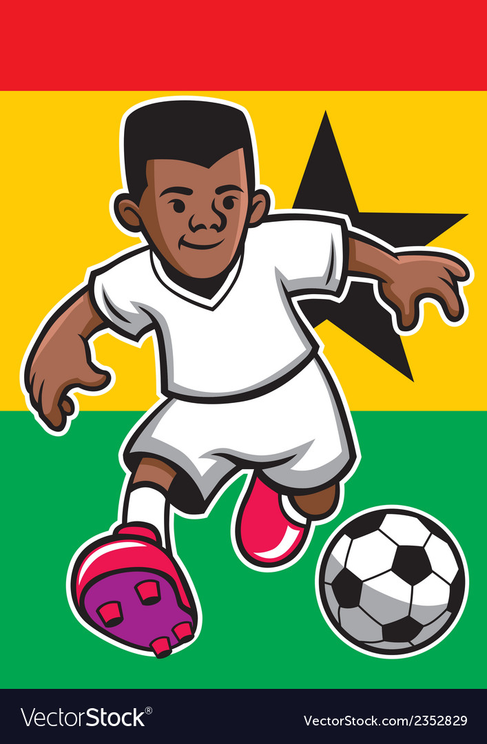 Ghana soccer player with flag background vector | Price: 1 Credit (USD $1)
