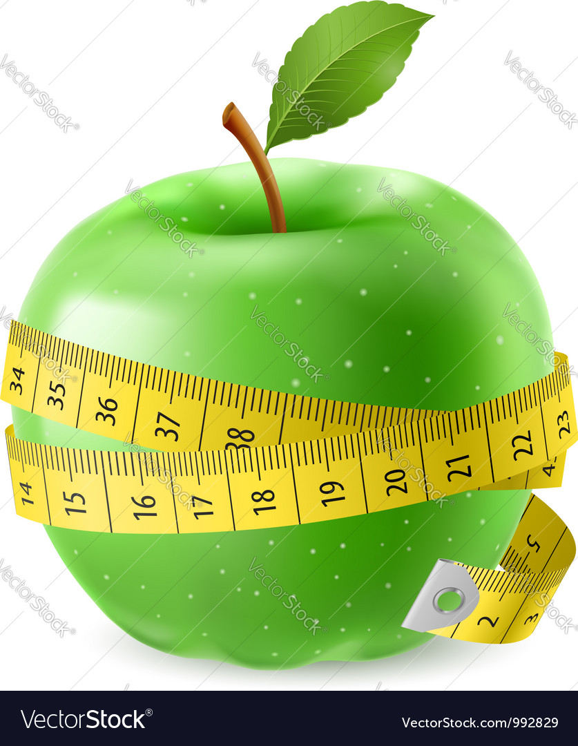Green apple and measure tape vector | Price: 3 Credit (USD $3)