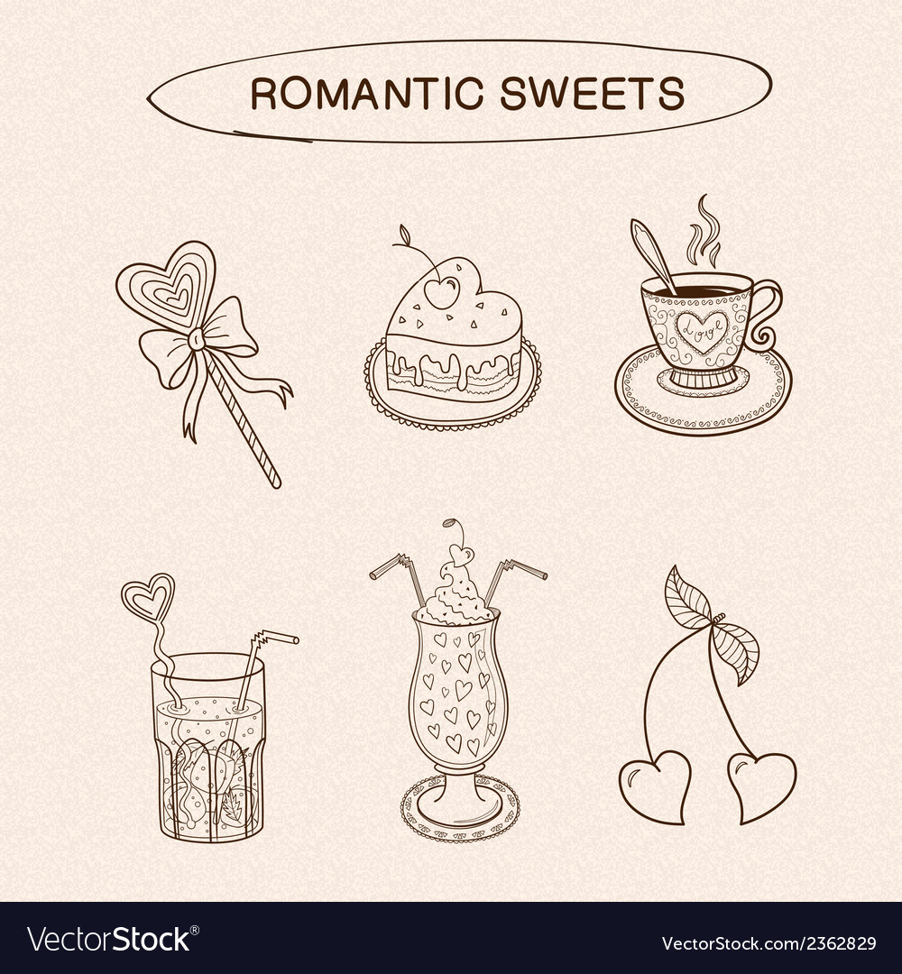 Heart shaped sweets collection vector | Price: 1 Credit (USD $1)