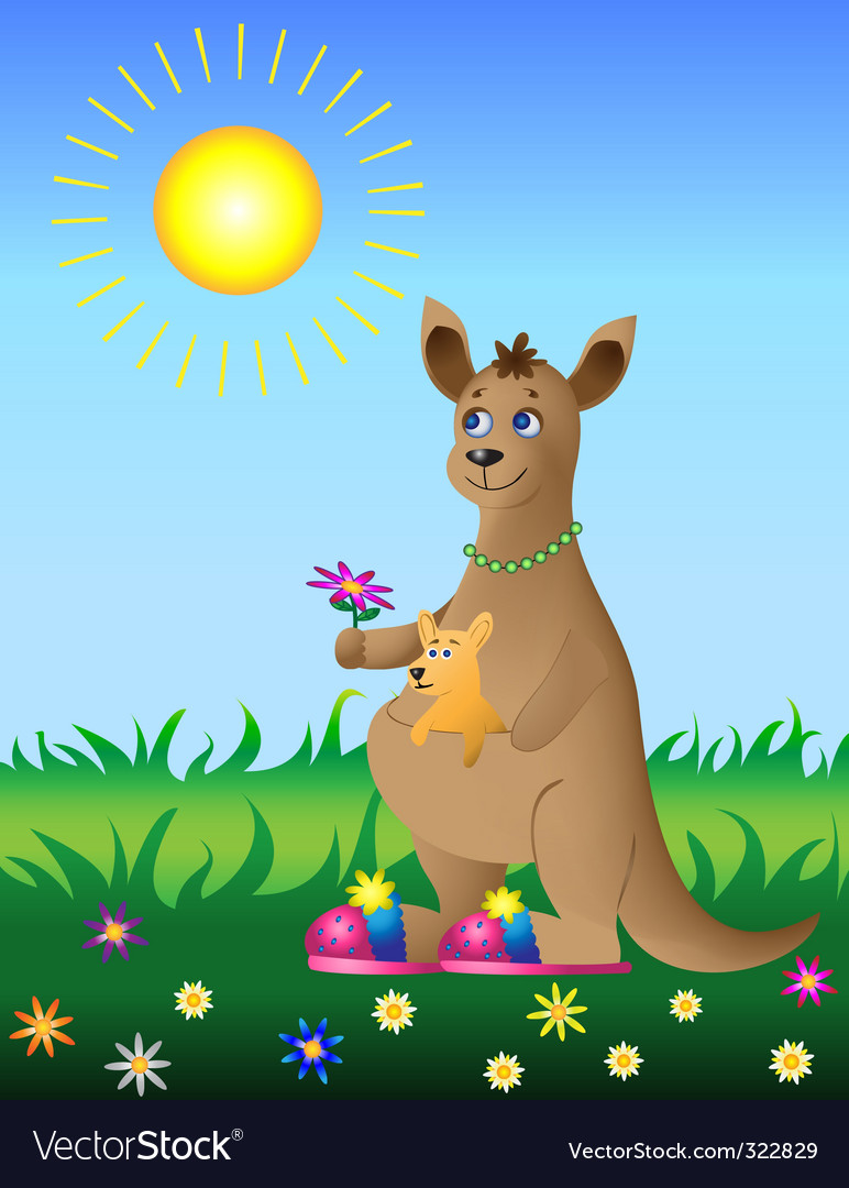 Kangaroo with baby on meadow vector | Price: 1 Credit (USD $1)
